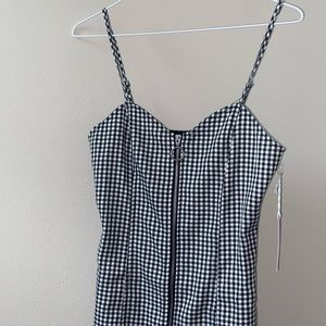 checkered spaghetti strap dress